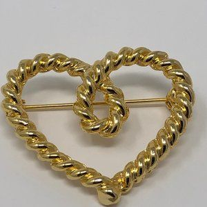 Twisted rope heart gold-tone brooch love valentine